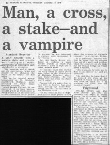 Press cuttings for the Highgate Vampire